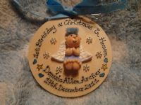 Angel Memorial Tree Wall Hanger Decoration Bauble Baby's 1st Christmas Birthday in Heaven Wooden Sign Any Phrase Pink Blue Neutral
